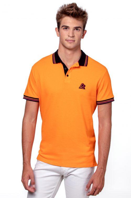 Orange men's polo T-shirt