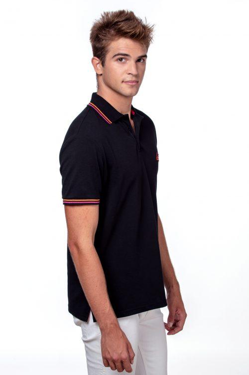Black men's polo T-shirt