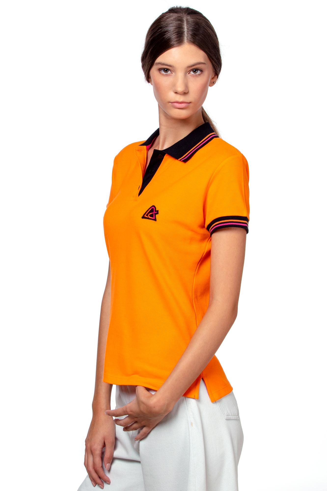 Orange women's polo T-shirt