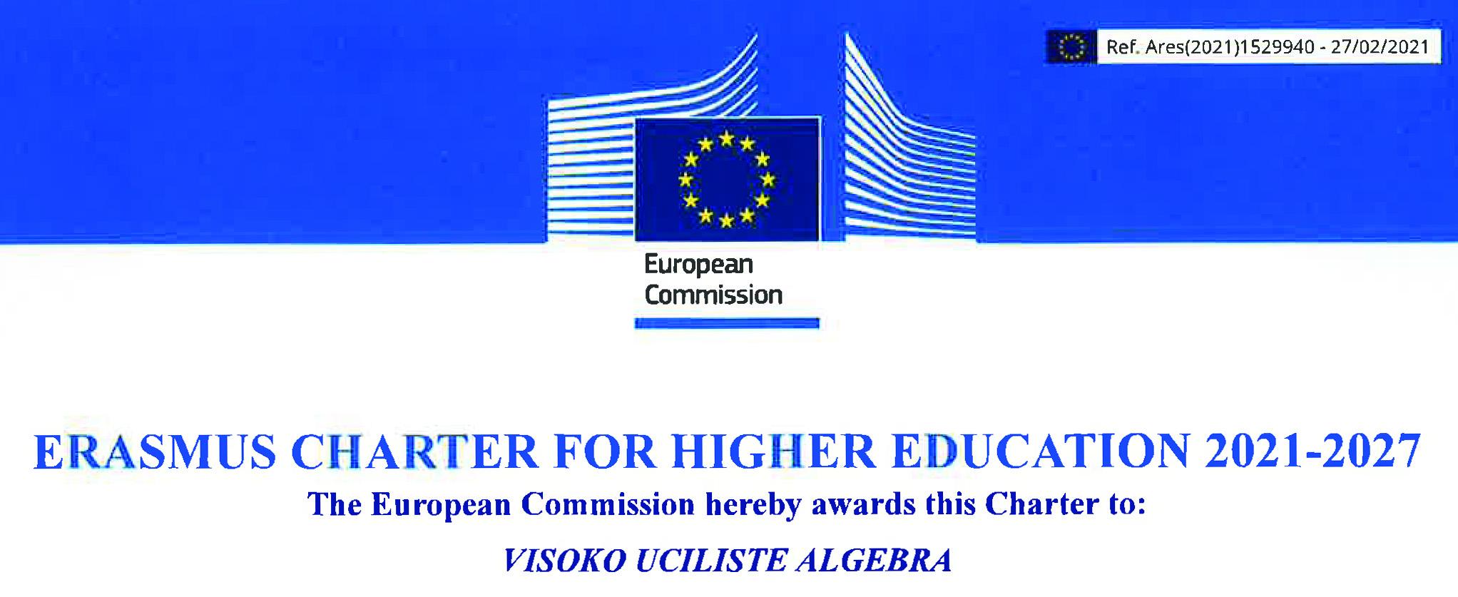 Image for Europska komisija dodijelila je Visokom učilištu Algebra novu Erasmus Povelju u visokom obrazovanju